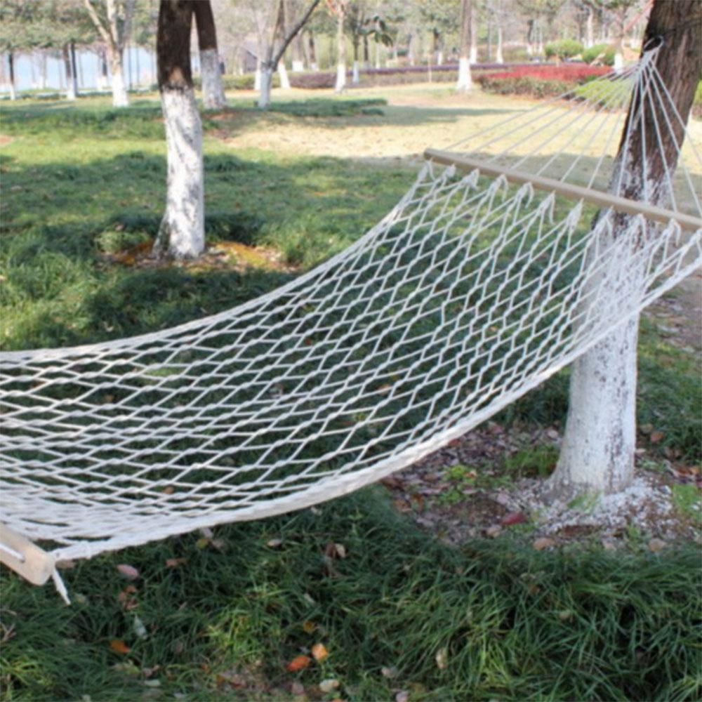 X a single mesh cotton wood stick cotton rope swing hammock