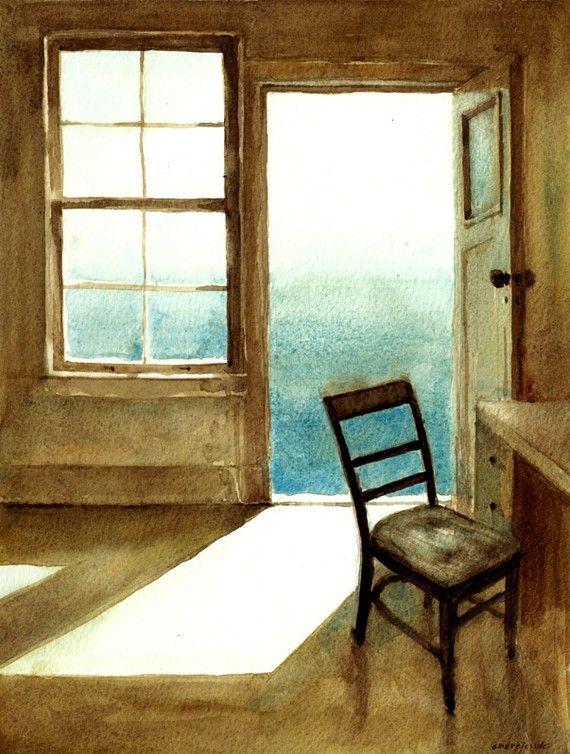 Open Door Original Watercolor Etsy Original Watercolors Interior Art Doors