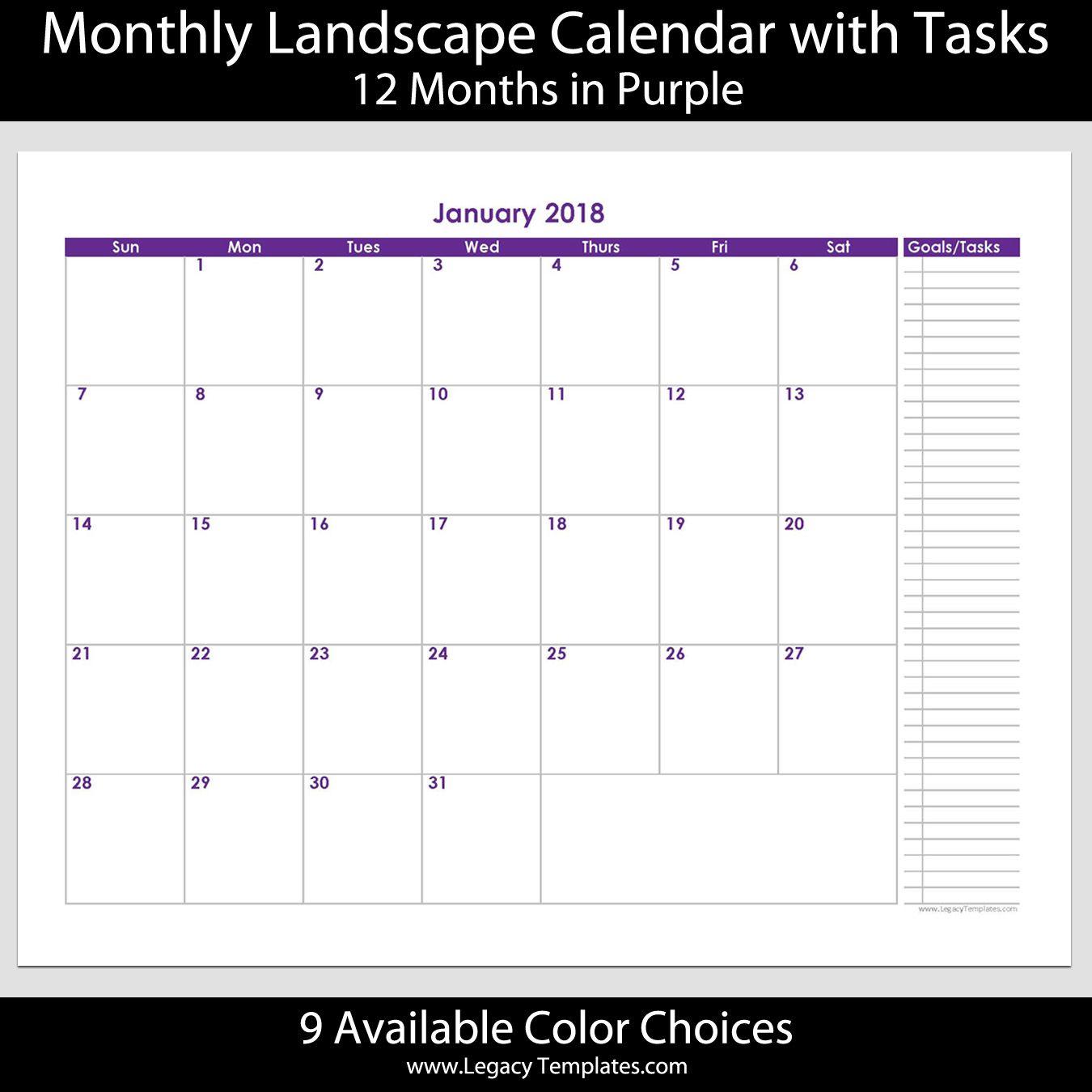 Month Calendar With Tasks  Printable Calendars