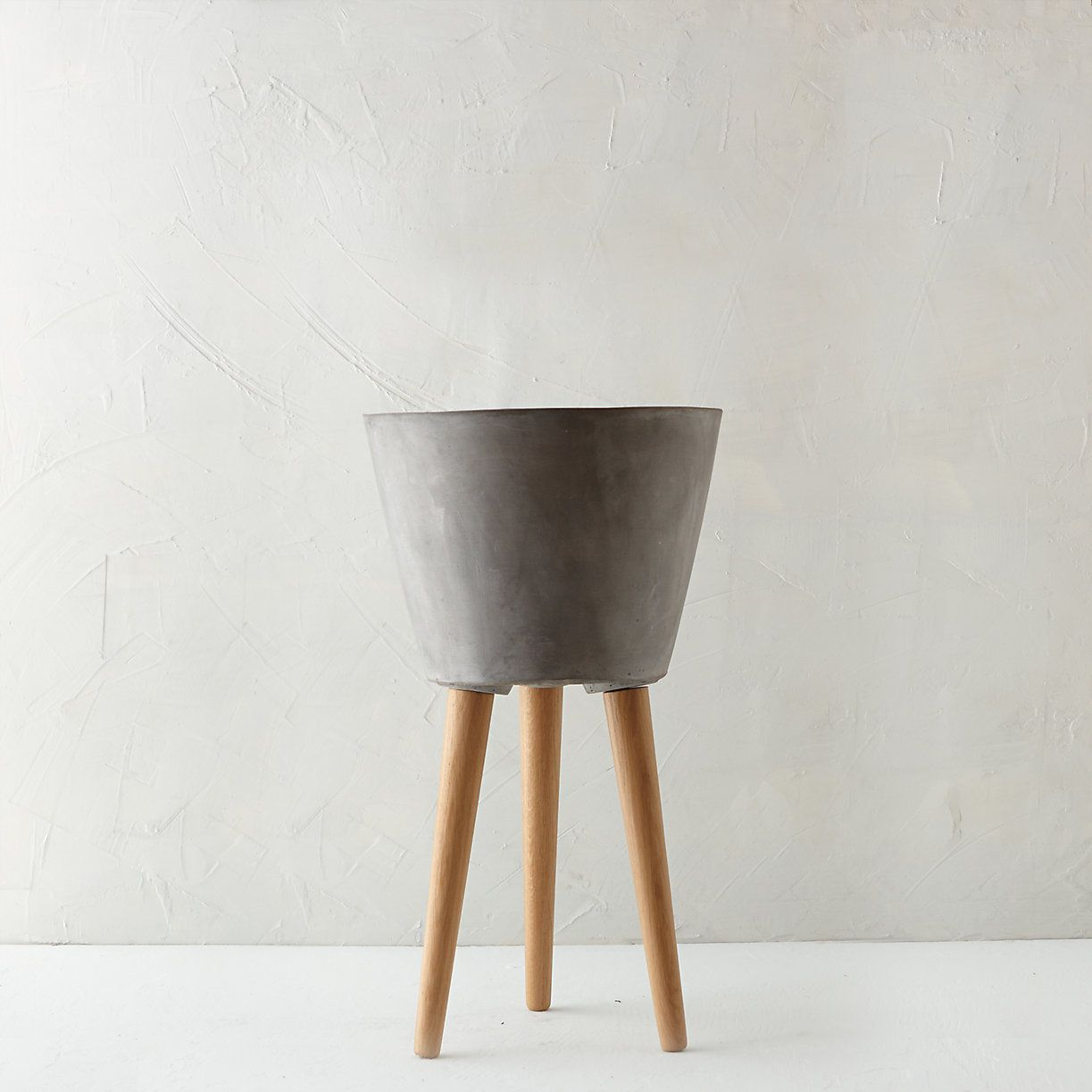 Tapered Wooden Leg Pot In New Fresh Greens At Terrain Concrete Plant Pots Indoor Planters Concrete Pots