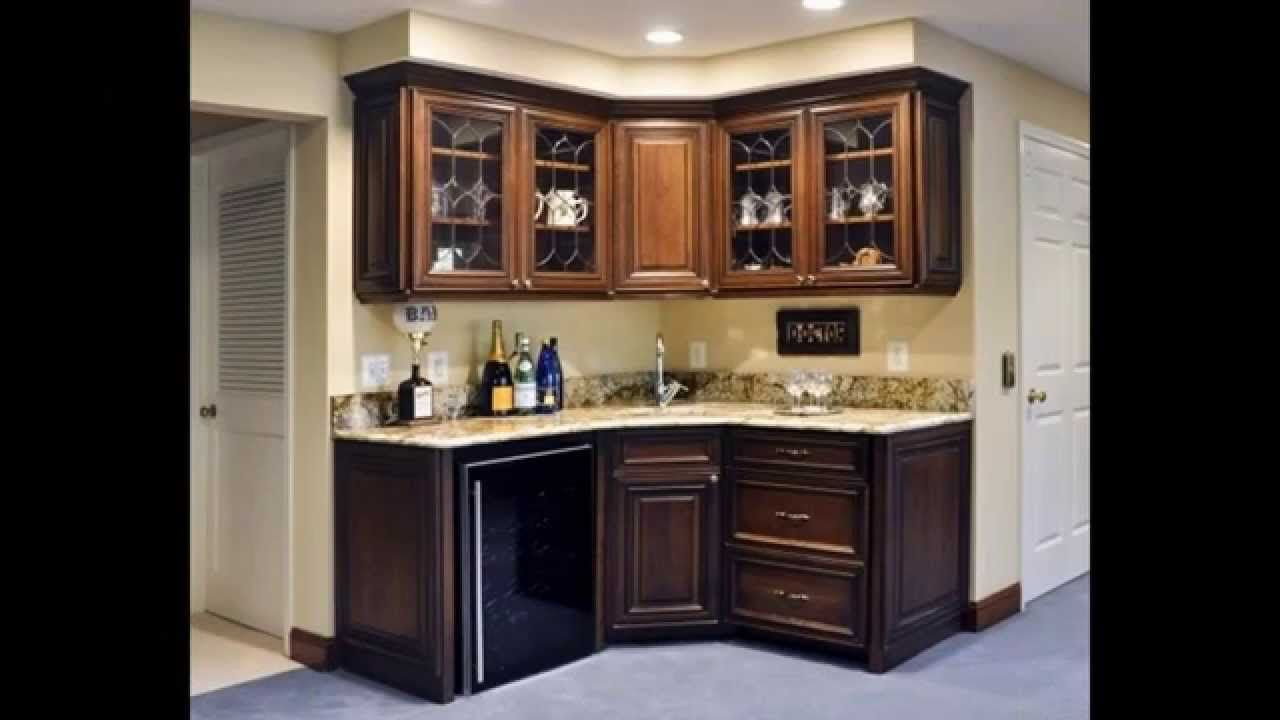 High Quality Two Wall Corner Wet Bar With Dark Cabinetry And Light Granite Countertop