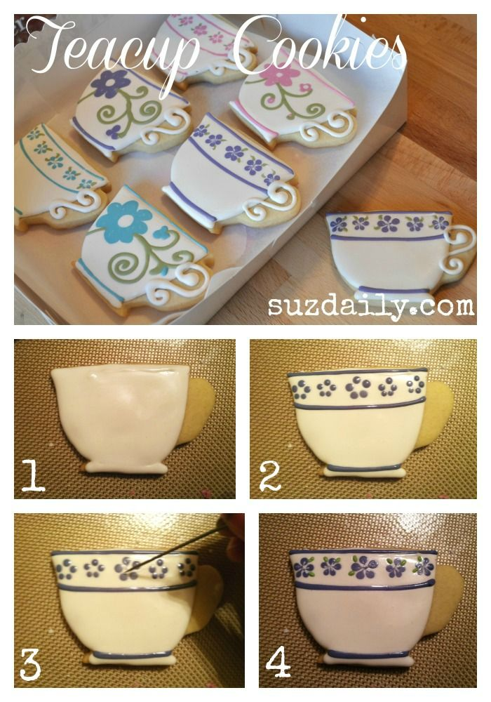 How to make simple teacup cookies.  Very fun design for a tea party!