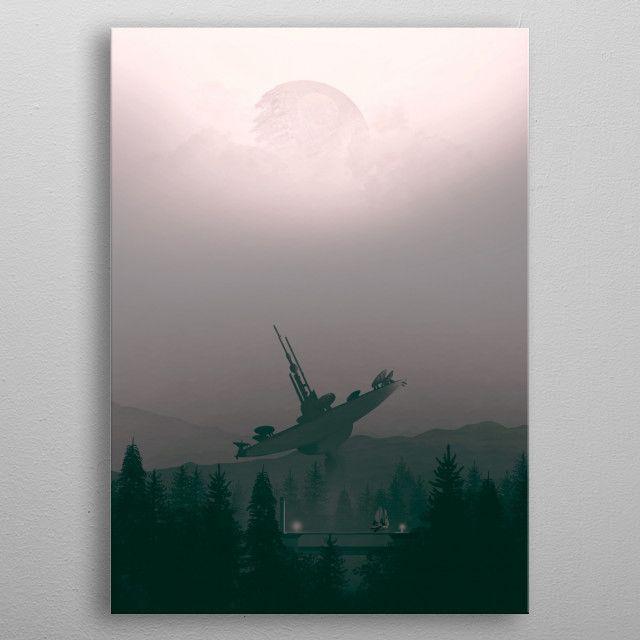 Endor Landscape illustration by Yann Blessemaille | metal posters - Displate | Displate thumbnail