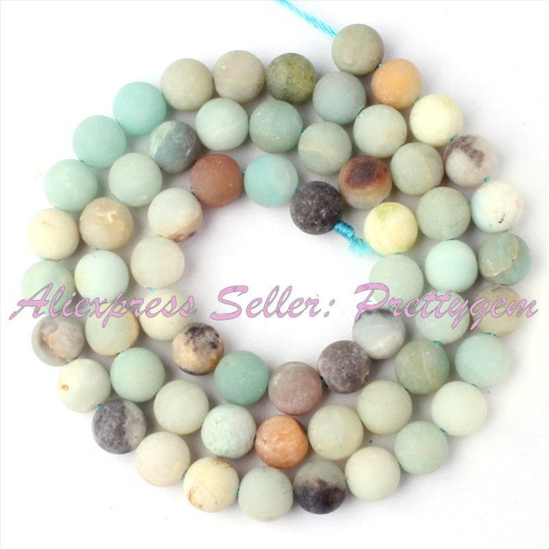 Free Shipping Round Frost Multicolor Amazonite Spacer Beads