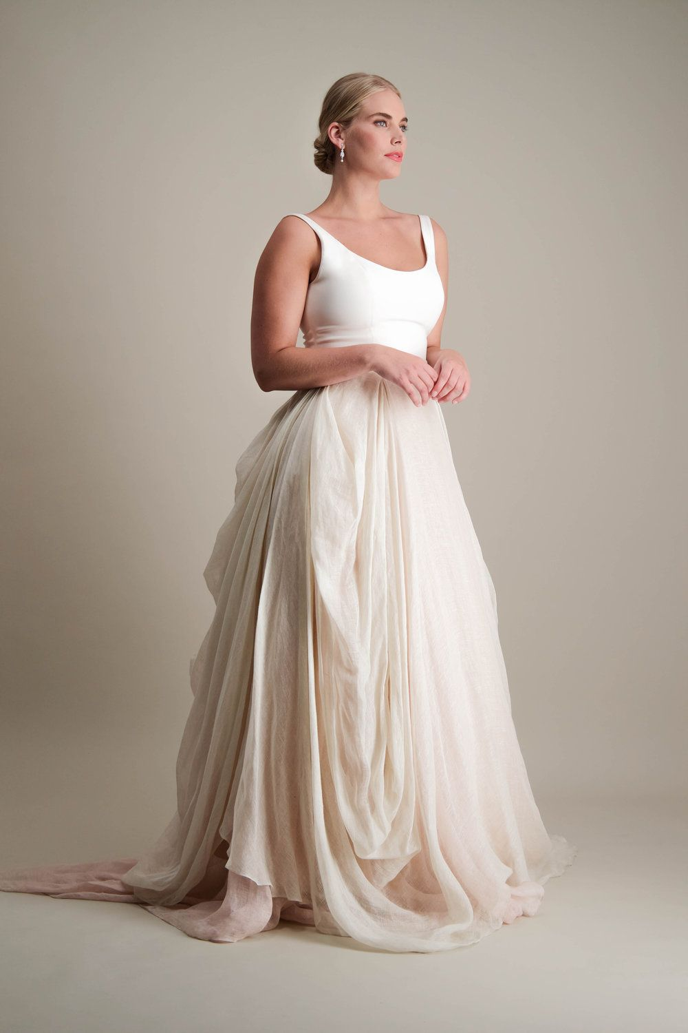 Kensington Skirt Draped Linen Ball Gown Wedding Skirt Paired With Scoop Neck 100 Silk 4ply Crep Tank Top Wedding Dress Scoop Wedding Dress Linen Wedding Dress