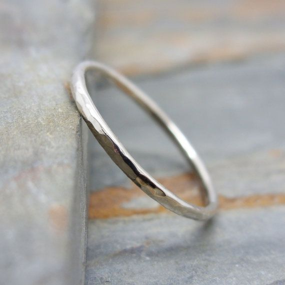 a5ab4ef9732b8 Simple Thin 14k White Gold Wedding Band in Smooth, Hammered, or ...