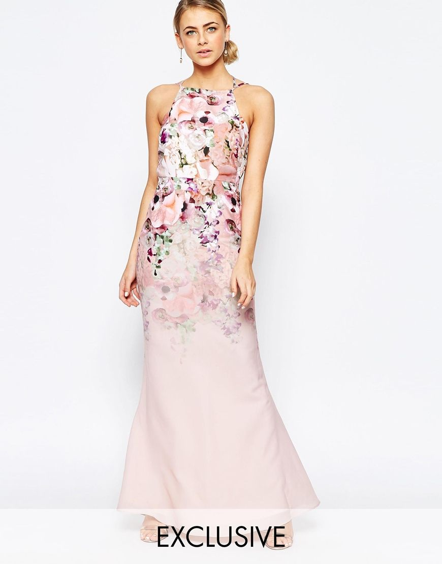Image 1 of Hope and Ivy Floral Square Neck Maxi Dress Wedding