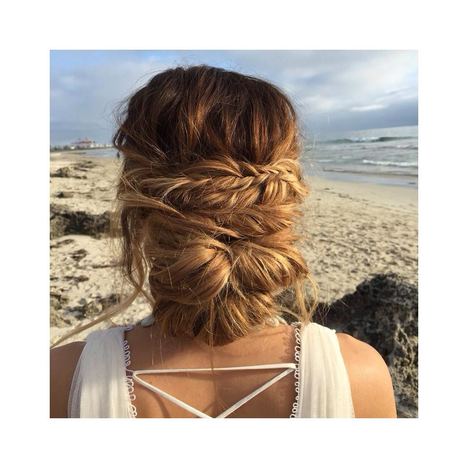 Fishtail Braid Wedding Hairstyles: Fishtail Braid Bun. Wedding Hair For The Boho Bride By