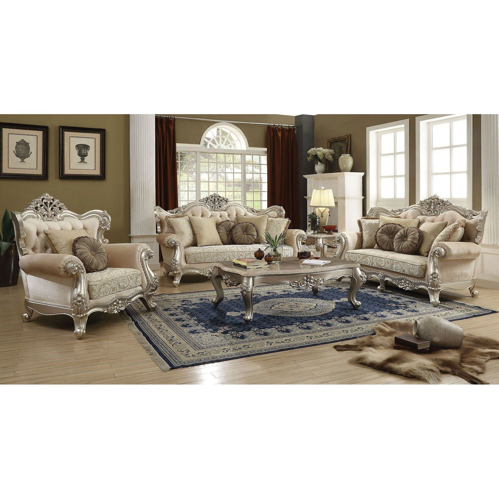 Best Acme Bently In Fabric Finish 5 Pc Living Room Set Marble 640 x 480