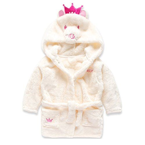 ef5837d22 DONA Little Girl s Coral Fleece Bathrobe Unisex Kids Robe Pajamas ...