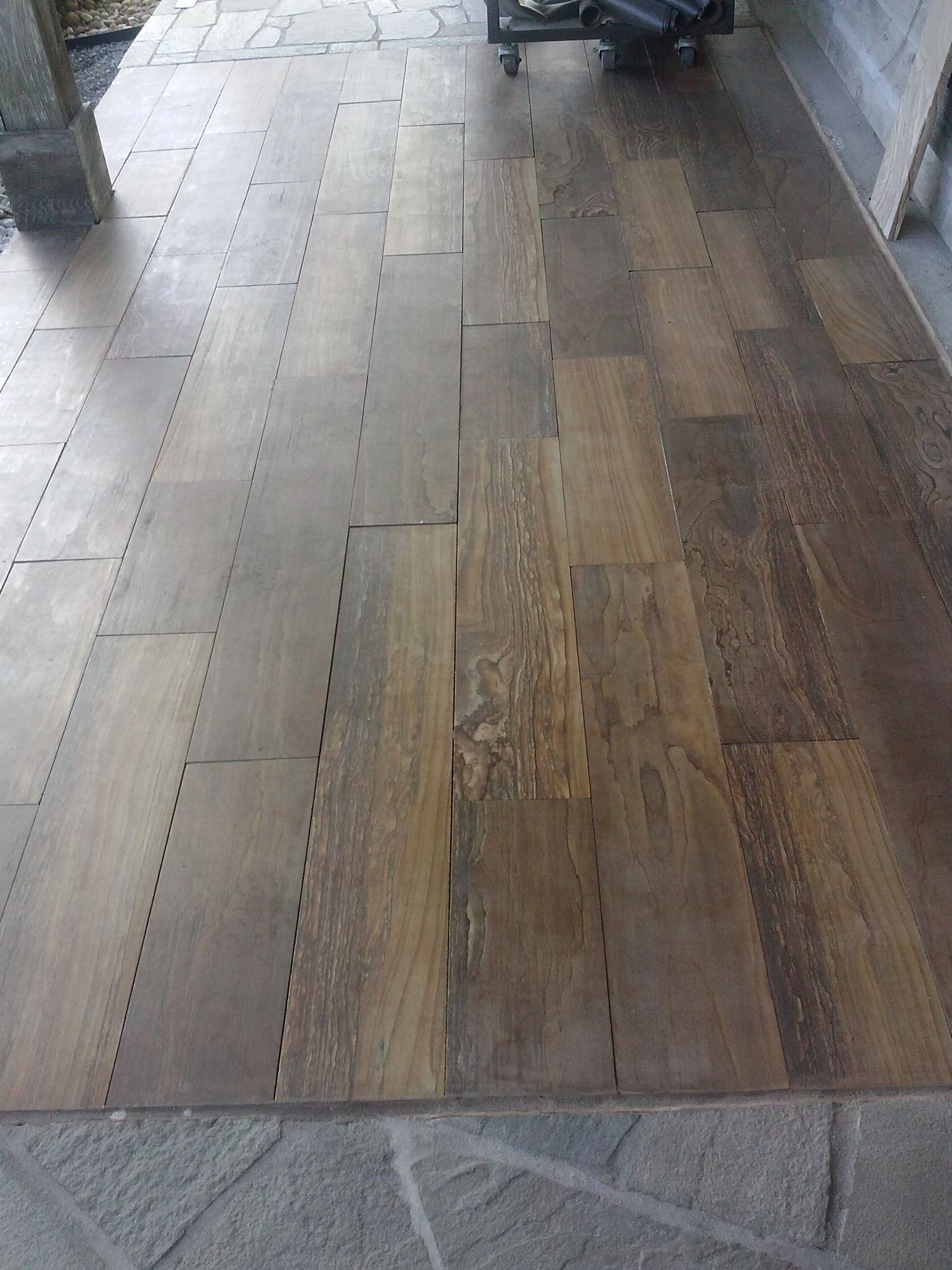 Natural Stone Called Oak Canyon Plank Looks Like Wood Flooring Used Outside And Inside The Home