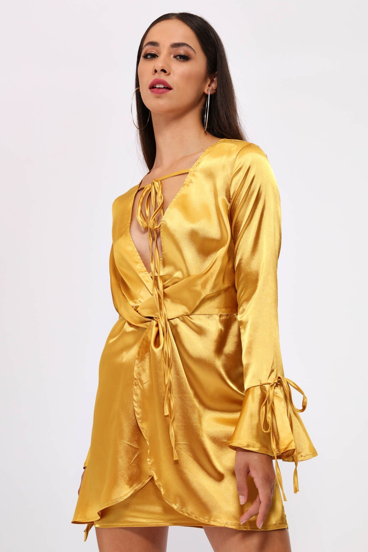 Gold wrap detail long sleeve dress products
