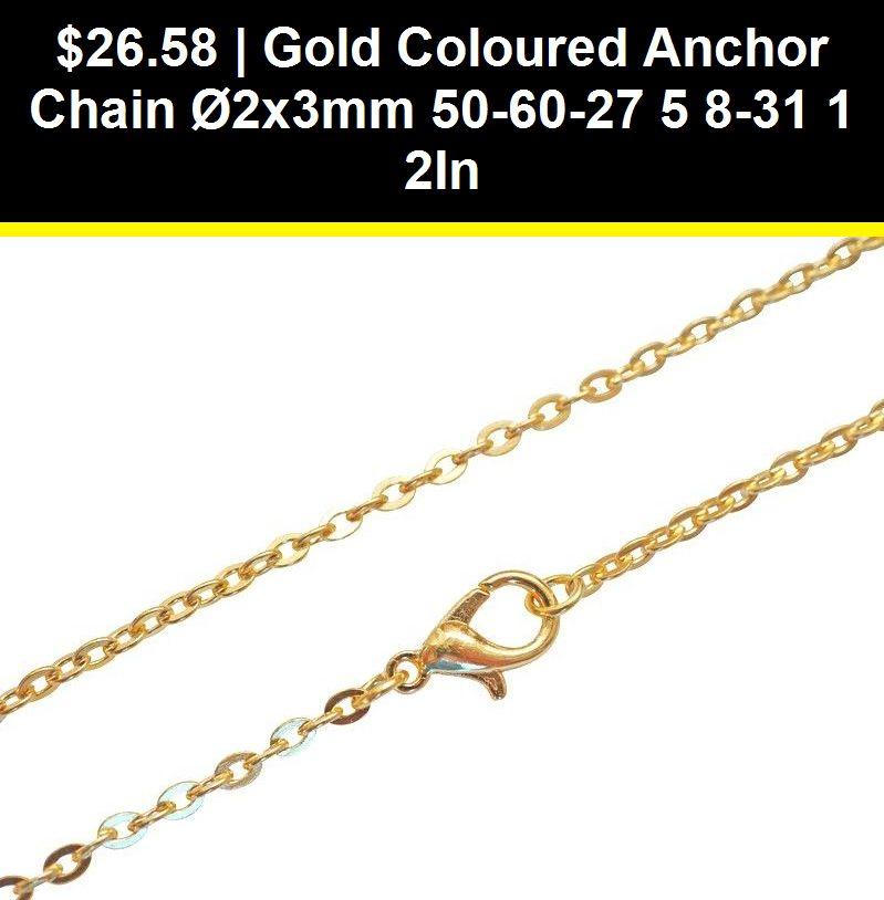 Details about Gold Coloured Anchor Chain Ø2x3mm 506027 5