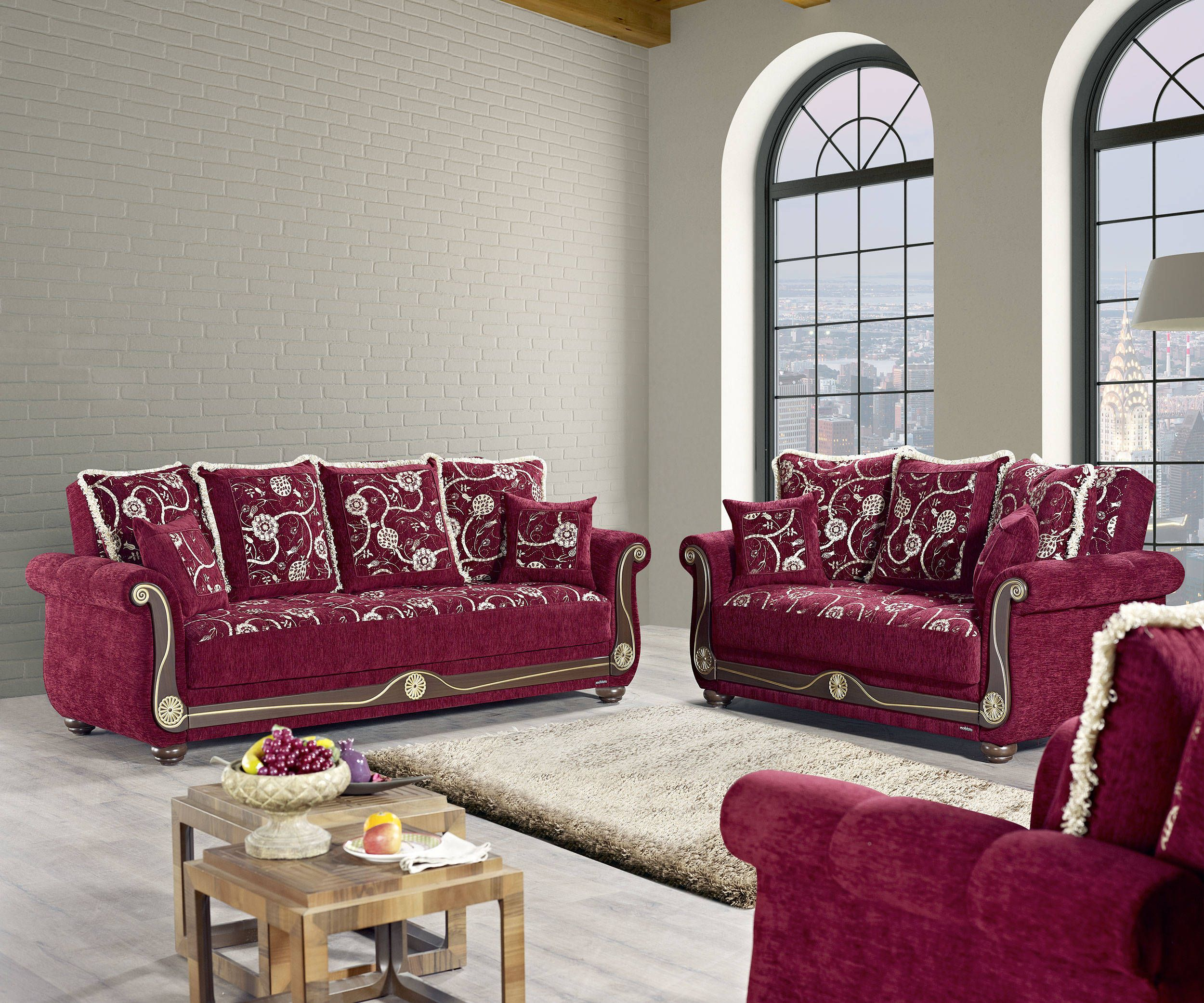 American Style Flowers Burgundy Fabric Plywood 3pc Living Room Set ...