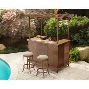 Hampton Bay Decker 3 Piece Patio Pergola Bar Set L Dn1167sst At The Home Depot Lakehouse