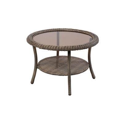 Hampton Bay Spring Haven Grey Round Patio Coffee Table 65 20310