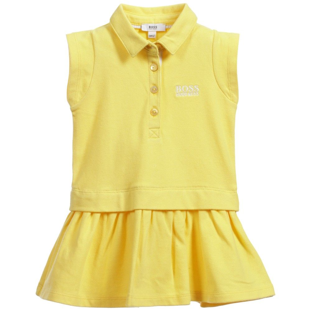 Yellow dress kids  Baby Girls Yellow Cotton Piqué Layered Dress  Logos Layered