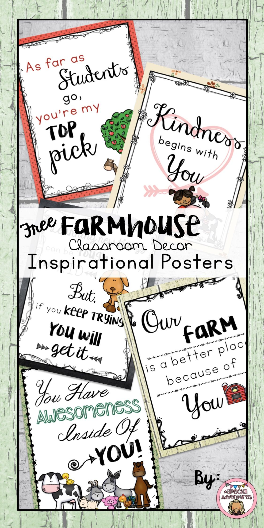 Farmhouse Classroom Decor Inspirational Posters Freebie