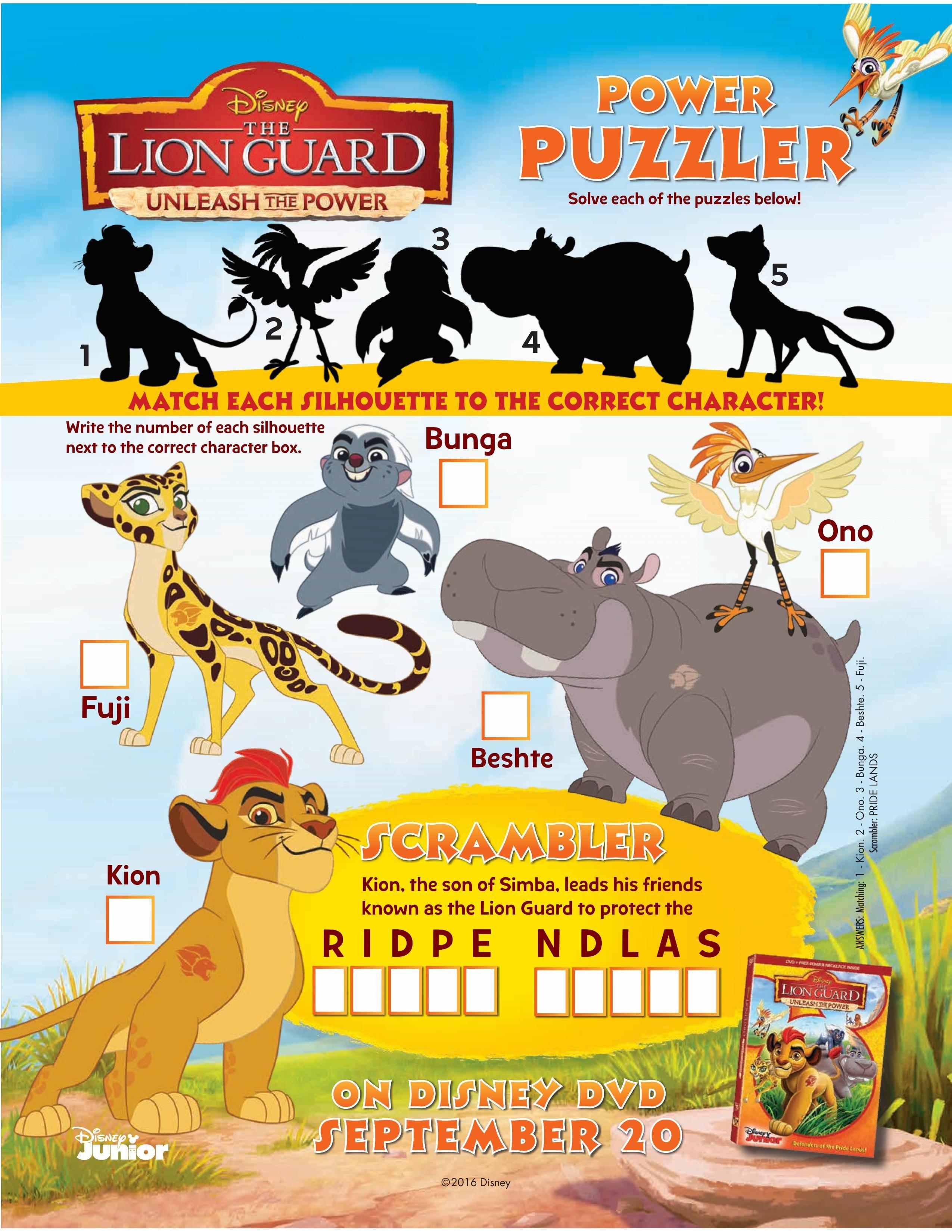 Free coloring pages lion guard - Printable Disney Lion Guard Puzzle Page