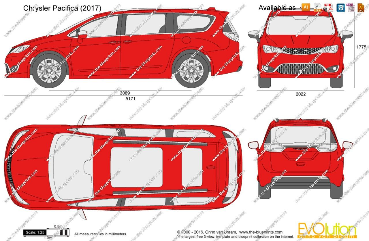 The Blueprints Vector Drawing Chrysler Pacifica Regarding 2017 Length