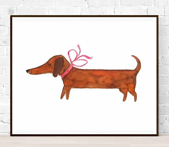 Original Dachshund Watercolor Size A4 Original Painting No Dog