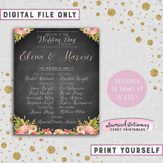 """Large Format Wedding Party Welcome Sign """"Sweet Florals"""