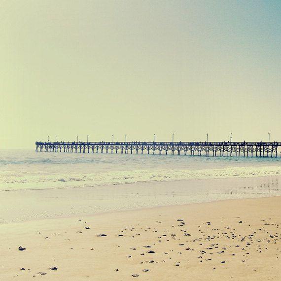 Vintage Beach Pier Art Print - Dreamy Green Pastel Summer Beach ...