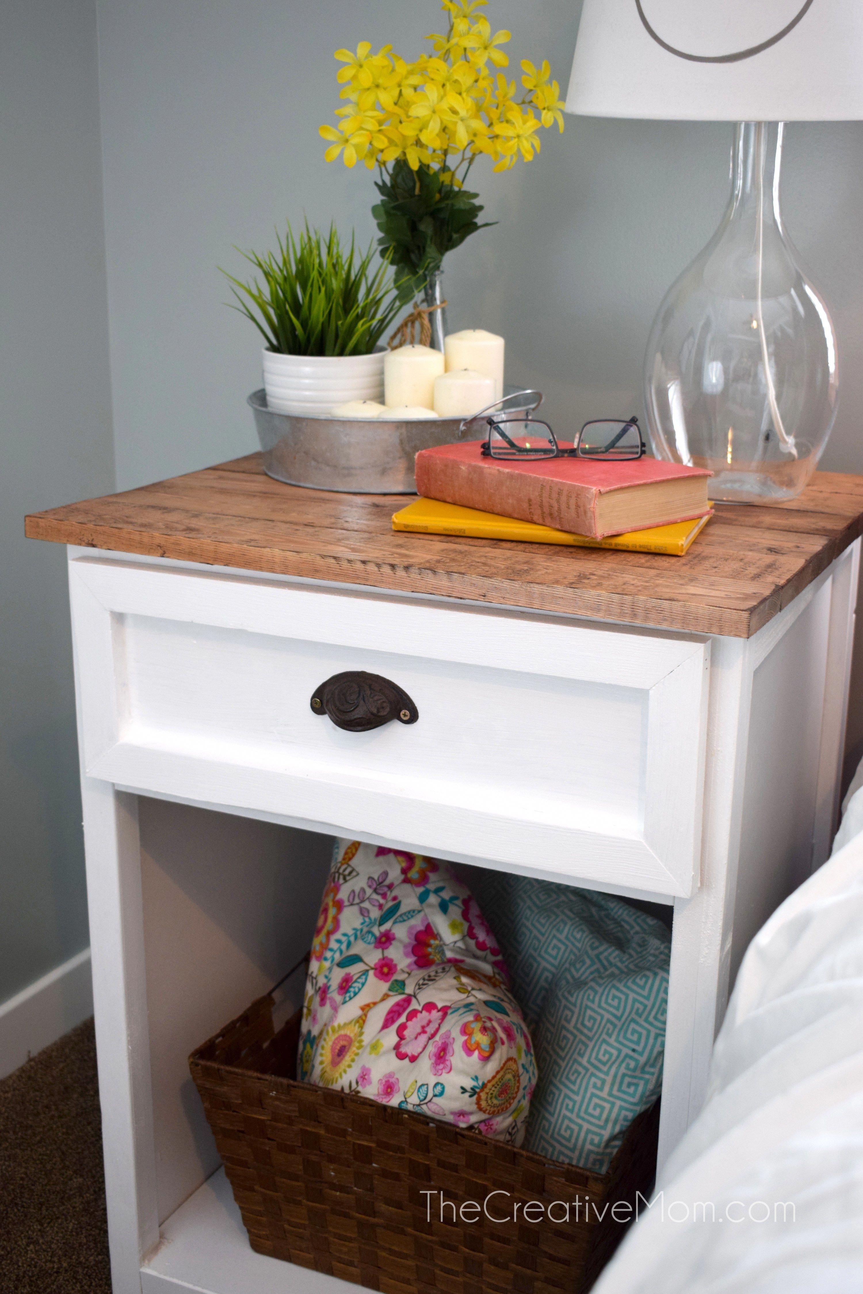 Darling DIY farmhouse nightstand. Get the free building