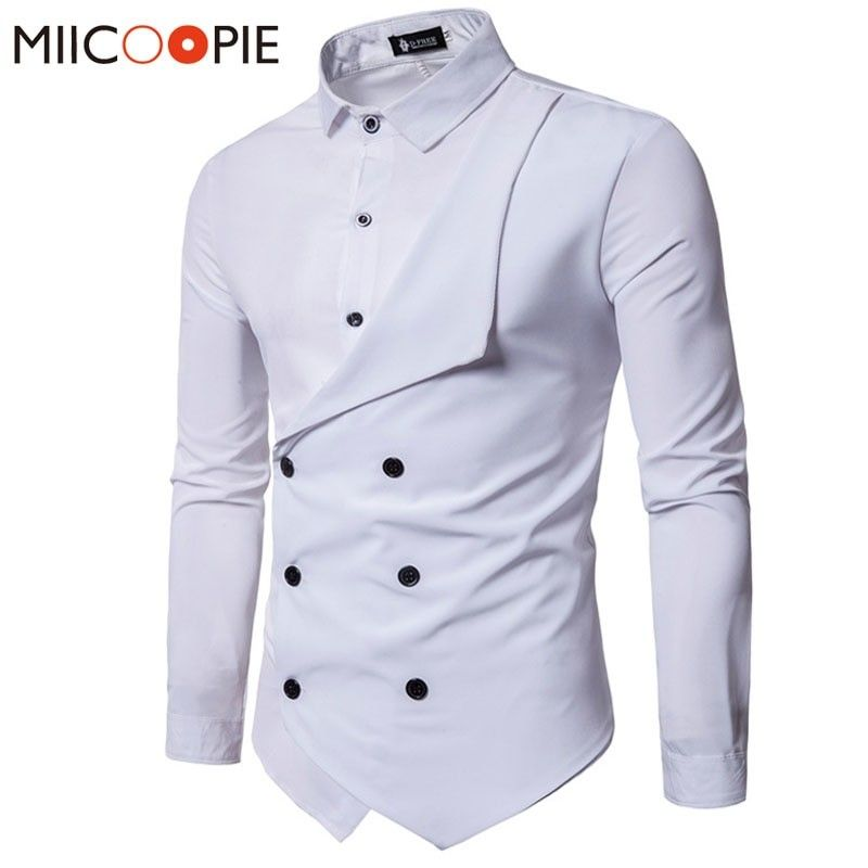 f0097e9c5 Men Shirt Brand Personality Double-breasted Fake Two Shirt Formal Solid  Color Slim Fit Cotton