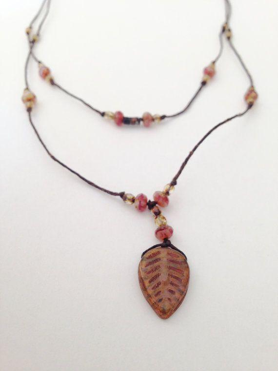 Czech glass bead and waxed linen necklace beadword by GreenCaligo, £20.00