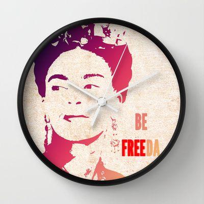 Be FREEda Wall Clock by Escrevendo e Semeando - $30.00