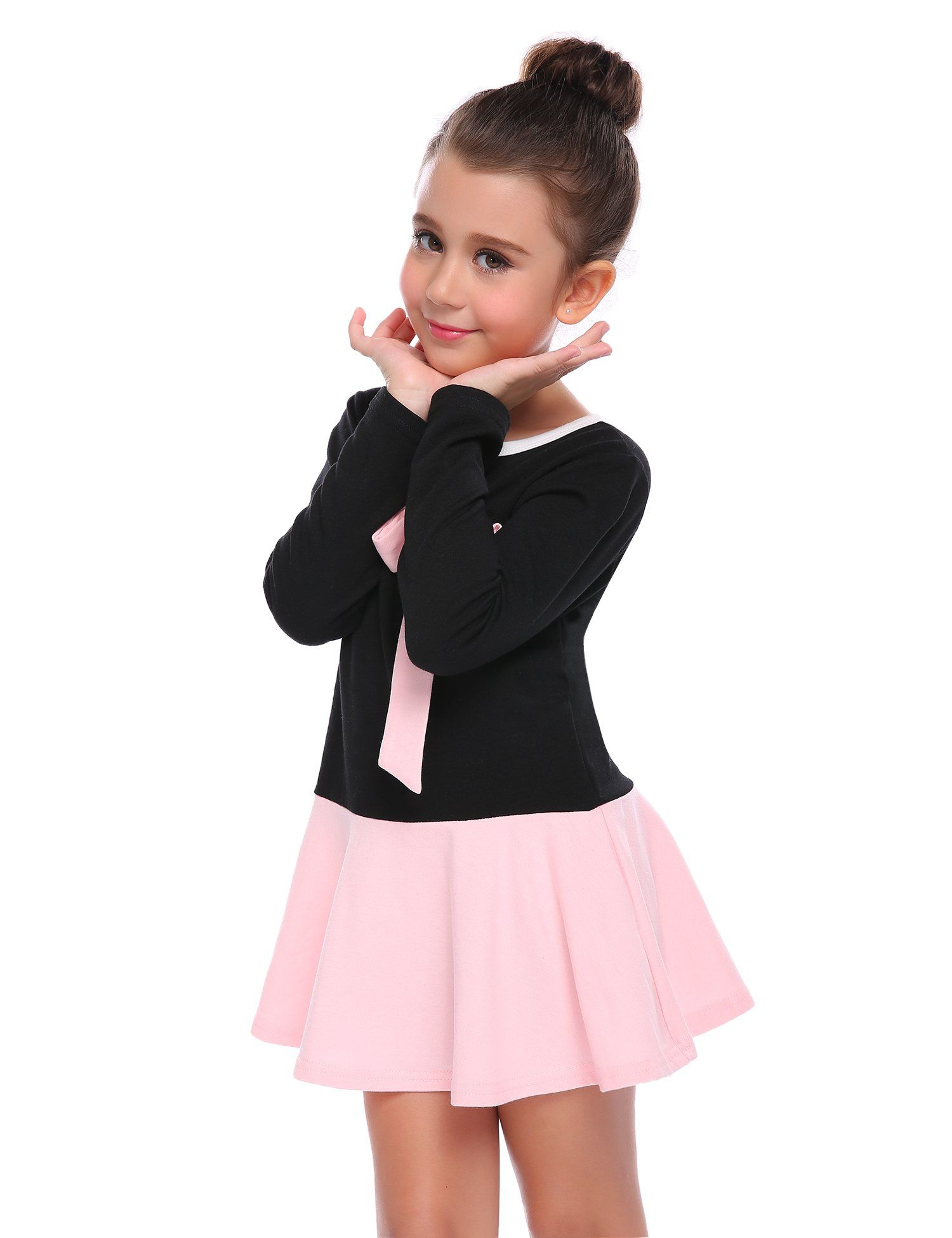 9871e0a42b8 arshiner brand size information Arshiner Little Girls Long Sleeve Bow Knot Casual  Skater Dress .