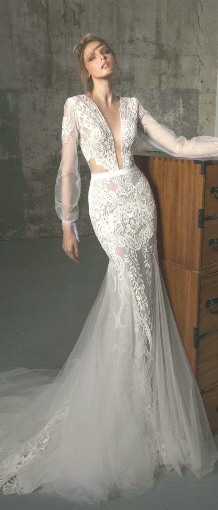 Long sleeves fit and flare wedding dress, Boho wedding ...