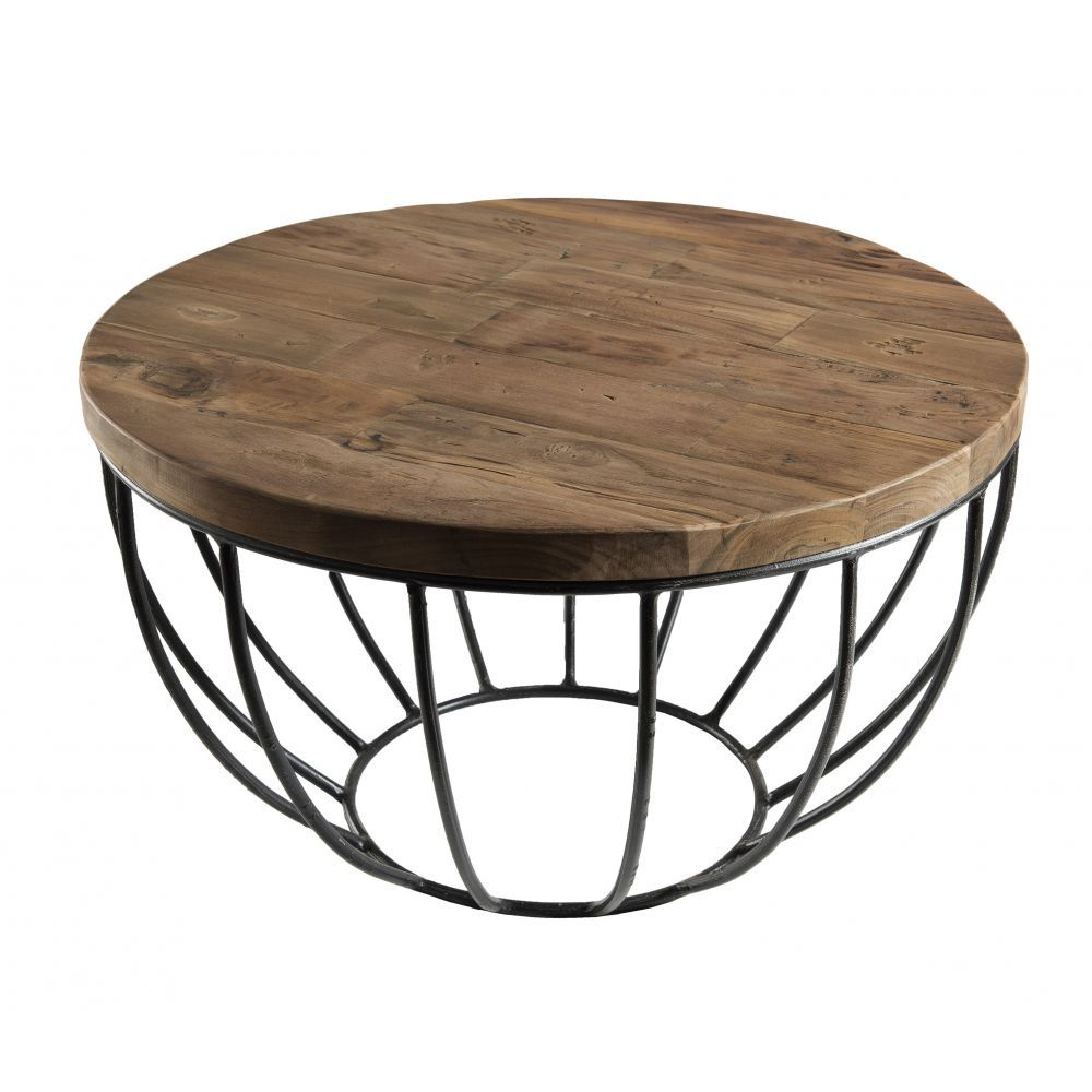 Petite Table Basse Ronde Teck Recycle Structure Filaire Noire Swing Table Basse Ronde Petite Table Basse Ronde Table Basse