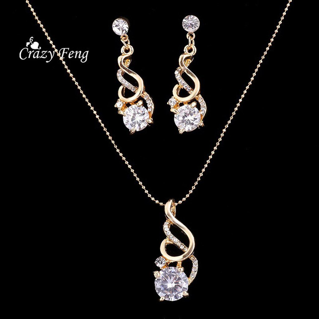 Fashion wedding jewelry k gold plated jewelry sets round cut