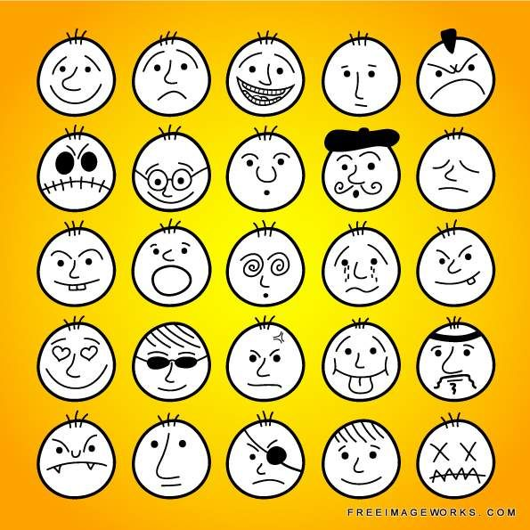 Set of hand-drawn funny cartoon faces. active, anger, angry, avatars, bald, black, boy, cartoon, character, cheerful, child, contour, cry, cute, design, doodle, draw, emoticon, emotion, expression, eyes, face, fun, graphic, group, growth, hand drawn, happy, head, human, icon, illustration, joy, kid, kindergarten, laughing, lines, mouth, nice, people, person, scary, school, set, sketch, sleep, smile, sweet, vector, yellow