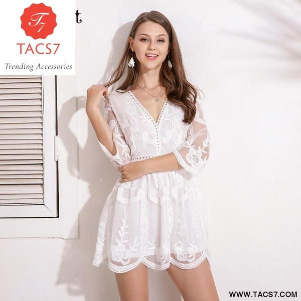 14f04ac30ae2c Lace Floral Embroidery V Neck Tunic Bodycon A-Line Dress | New ...
