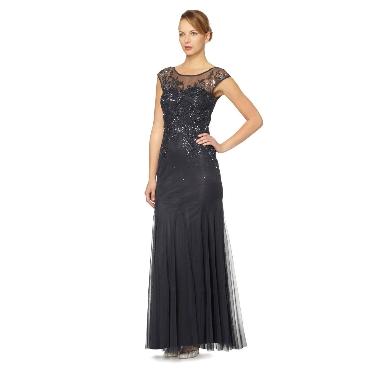 No. 1 Jenny Packham Navy embellished tulle maxi occasion dress- at ...