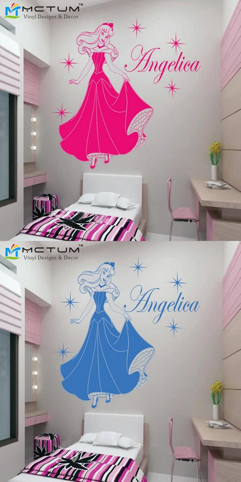 Princess auroroa personalized name stars vinyl wall art wall decals