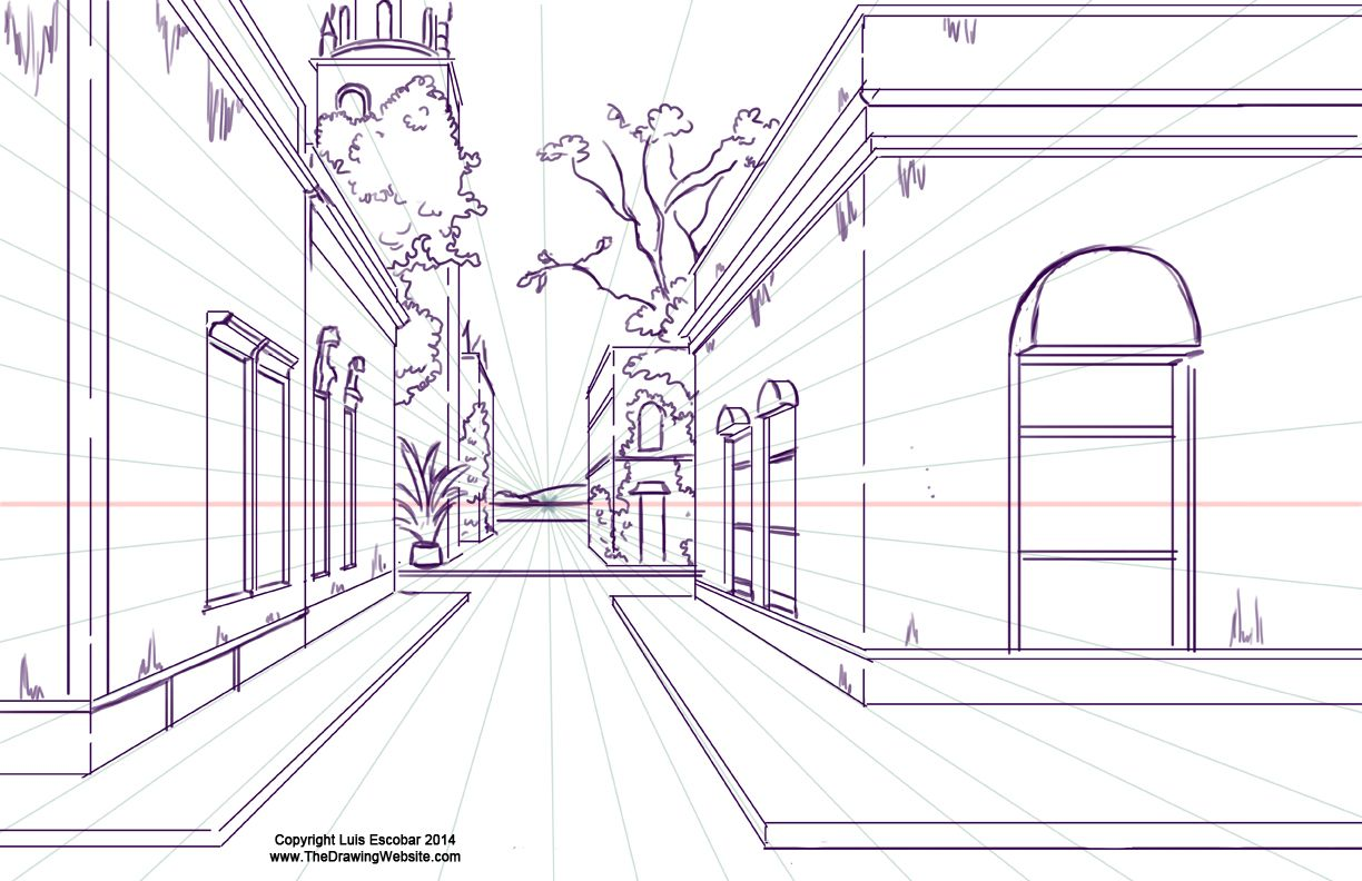 One Point Perspective Town By Luis Escobar Using A Single