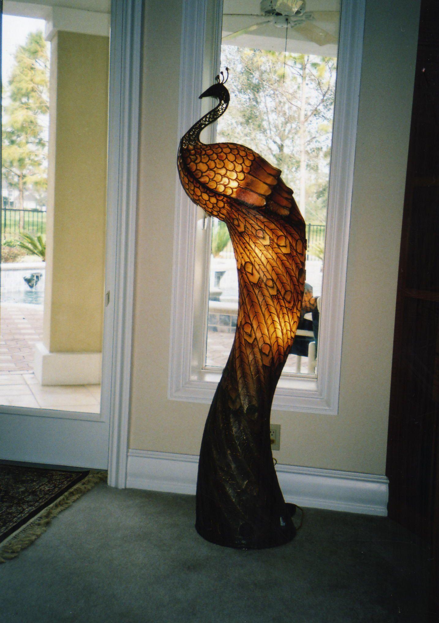Elegant FOR SALE: Peacock Shaped Floor Standing Lamp