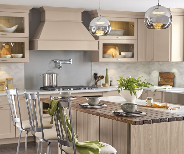 Transitional Kitchen With Beige Cabinets And A Woodgrain