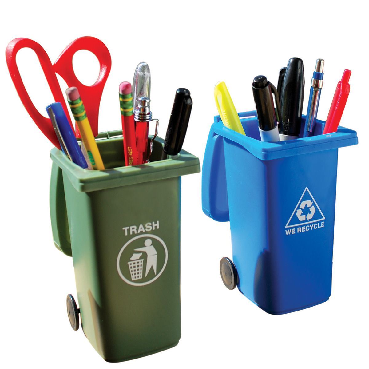 Trash And Recycling Can Pencil Holders Novelty Office Supplies Retroplanet Keep Your Desk Organized Entertain Visitors With Cool