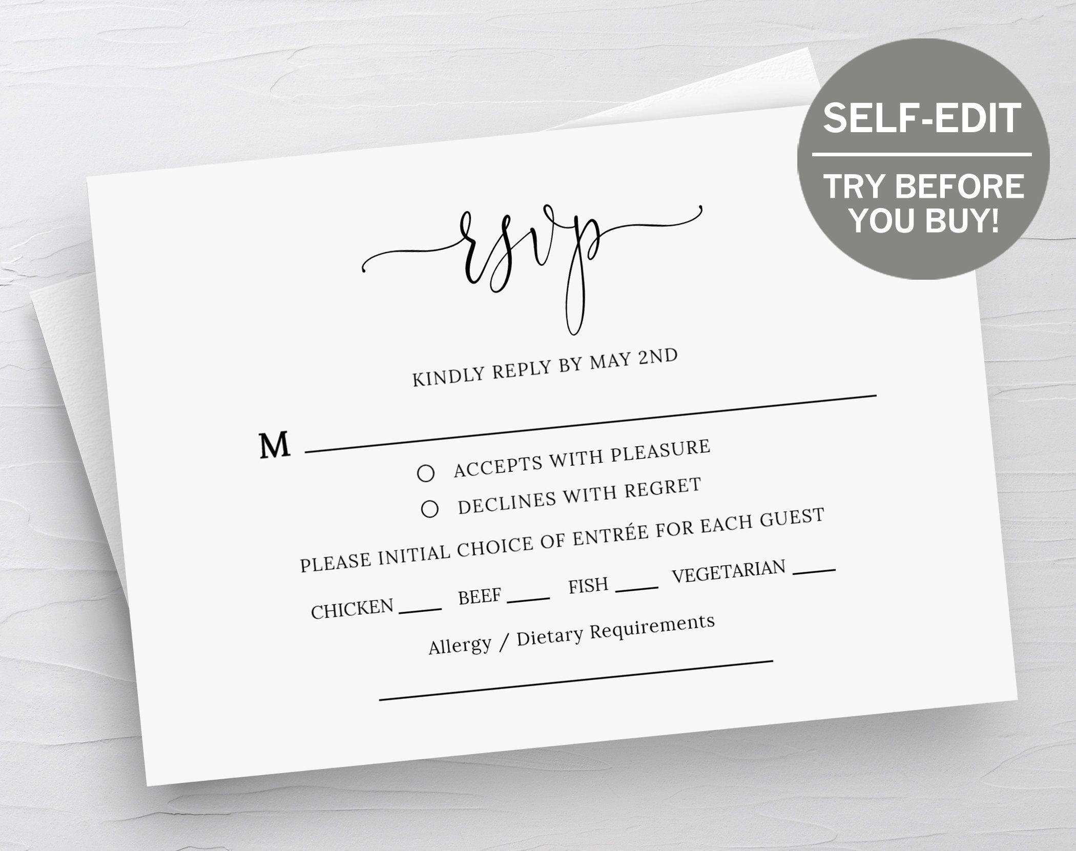 Rsvp Card Template Wedding Rsvp Cards Response Cards Rsvp Template Instant Download Weddin Rsvp Wedding Cards Wedding Rsvp Postcard Wedding Response Cards