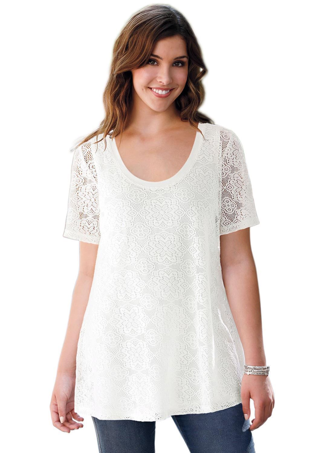 8cabd9173fb Our lace floral plus size tunic by Ellos® brings feminine European styling  to outfitting.