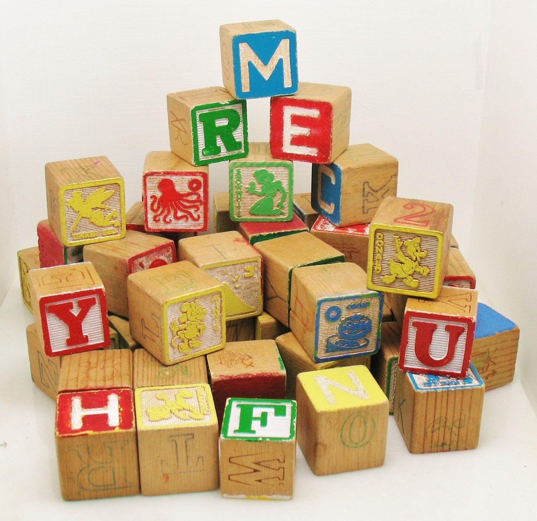 52 Vtg Wood Play Letters Alphabet Educational Home School