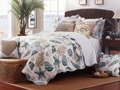Tropical Seashell Aqua Blue 3 Piece Full/Queen Size Quilt Set Ivy ... : ivy hill quilts - Adamdwight.com