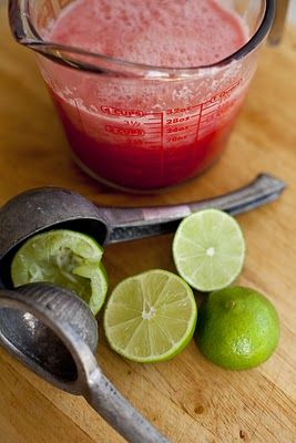 WATERMELON PUNCH WITH FRESH LIME AND CRUSHED MINT