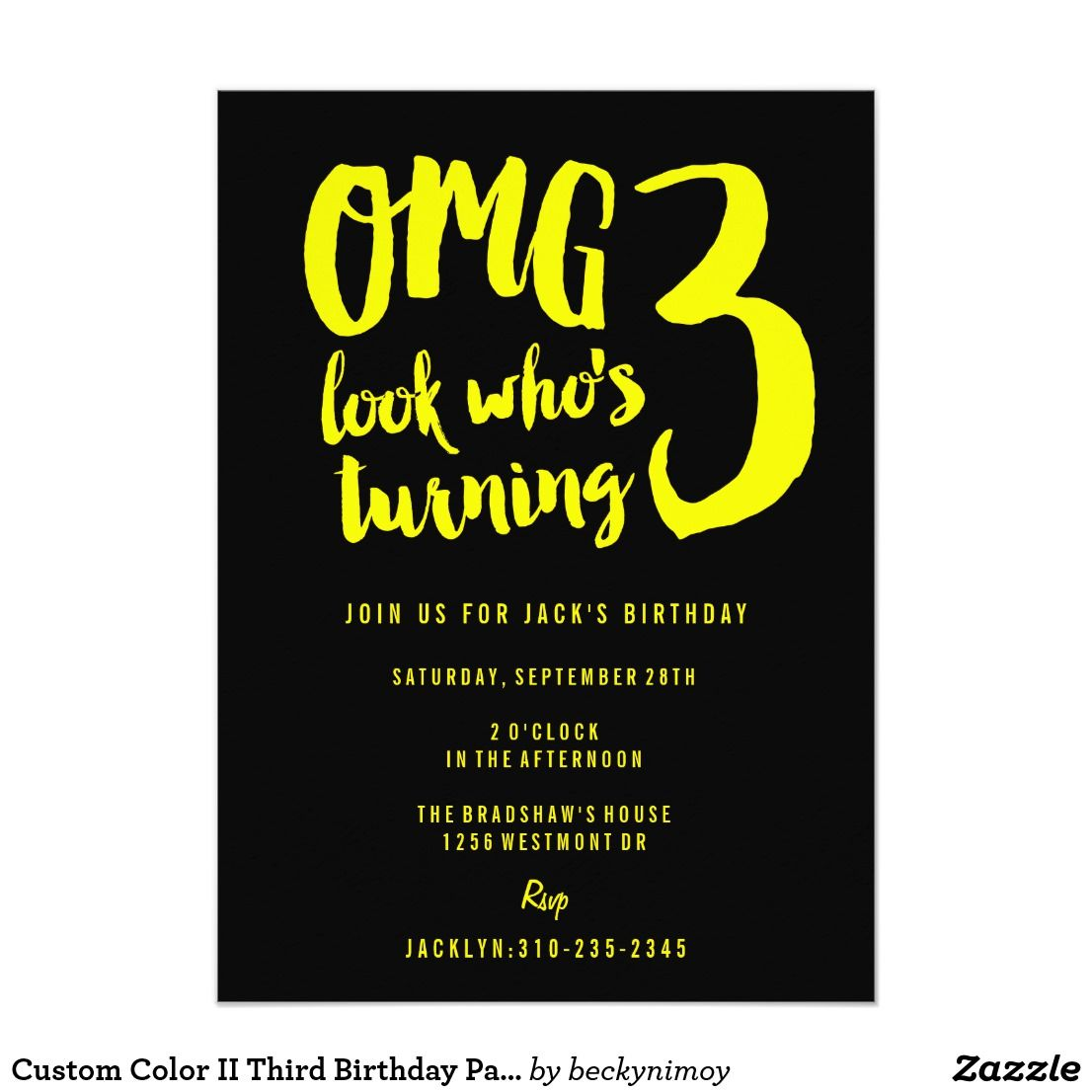 Custom Color II Third Birthday Party Invitation 3 A Cute Yet Sophisticated For Your Year Old Girl Or Boy