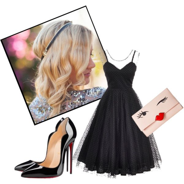 Black dress #1 by minelik on Polyvore featuring moda, Unique Vintage, Christian Louboutin, Kate Spade, Dauphines of New York, black and dress